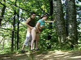 Horny Couple Caught Fucking Hard In The Woods