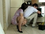 Slutty Mom Abusing Young Plumber In The Kitchen