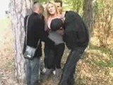 French MILF Gangbanged In Woods