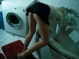 Hot Maid Surprised While Washing Bath