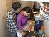 Daddy Helps Maid In Kitchen While Mom Is Not at Home